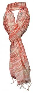 TigerTie Designer Chiffon Schal in rot beige gemustert mit Fransen - 180 x 50 cm