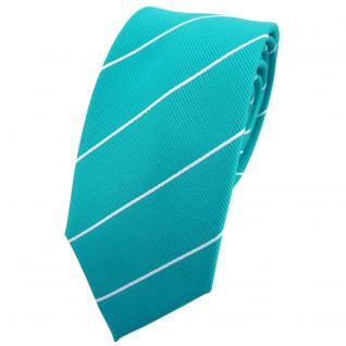 Schmale TigerTie Krawatte türkis türkisblau silber gestreift - Binder Tie
