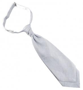 TigerTie Plastron Pique 2tlg Krawatte fertig gebunden in hellgrau-weiß gemustert