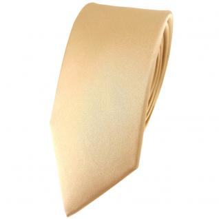schmale TigerTie Satin Seidenkrawatte beige gold bronze einfarbig - 100% Seide