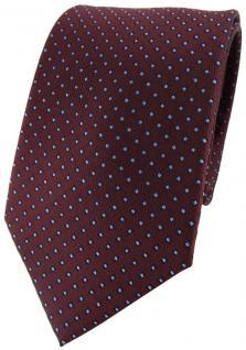 TigerTie Designer Seidenkrawatte rot braun blau gepunktet - Krawatte 100% Seide