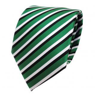 TigerTie Designer Krawatte - Tie Binder grün signalgrün weiss schwarz gestreift