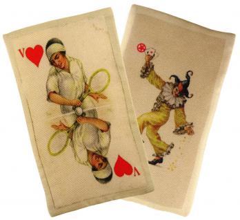 Ziertuch in Seide mit stabiler Einlage - 2er Set Spielkarten beige rot gemustert