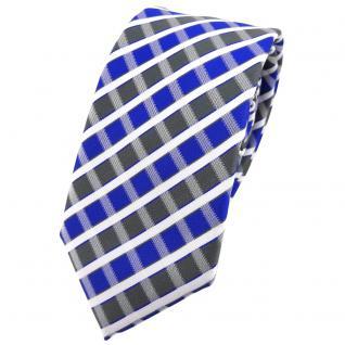 Schmale TigerTie Krawatte blau grau silber weiss gestreift - Schlips Binder