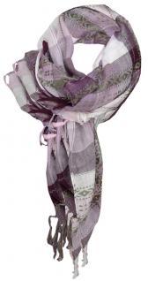 TigerTie Halstuch in violett grau flieder lila olivegrün kariert mit Fransen