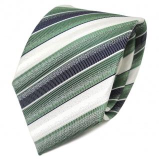 Designer Seidenkrawatte grün smaragdgrün royal weiss gestreift - Krawatte Seide