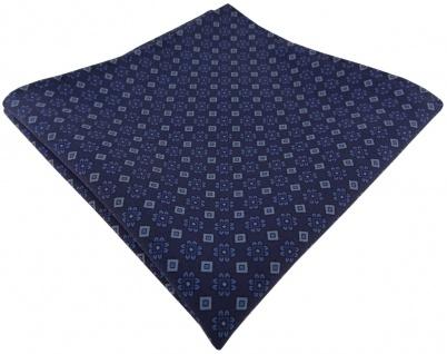 TigerTie handrolliertes Seideneinstecktuch dunkelblau blau Ornament gemustert - Vorschau