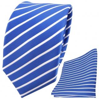 TigerTie Designer Krawatte + Einstecktuch blau hellblau azurblau weiß gestreift