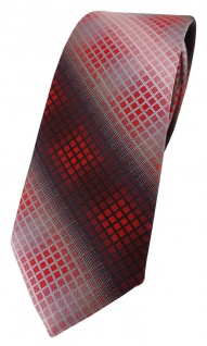 schmale TigerTie Designer Krawatte in rot dunkelrot silber grau schwarz kariert