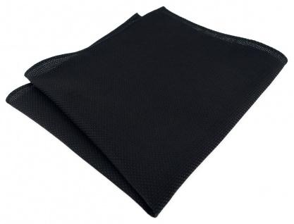 TigerTie Plastron Pique 2tlg Krawatte + Einstecktuch in schwarz uni gemustert - Vorschau 3