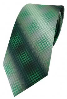 TigerTie Designer Krawatte in grün dunkelgrün silber grau schwarz kariert