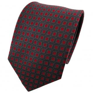 TigerTie Seidenkrawatte rot anthrazit grau Karo gemustert - Krawatte Seide
