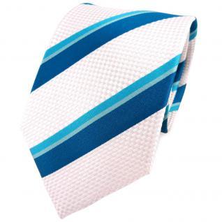 TigerTie Seidenkrawatte türkis petrol perlmutt gestreift - Krawatte 100% Seide