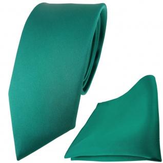 schmale TigerTie Satin Seidenkrawatte + Seideneinstecktuch grün einfarbig Uni