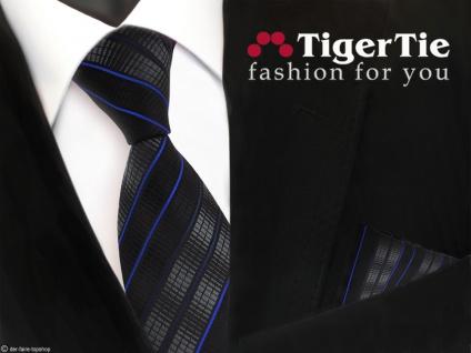 schöne TigerTie Krawatte + Einstecktuch in schwarz anthrazit blau gestreift