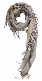 TigerTie Halstuch braun grau dunkelbraun gemustert mit Fransen -Gr. 100 x 100 cm