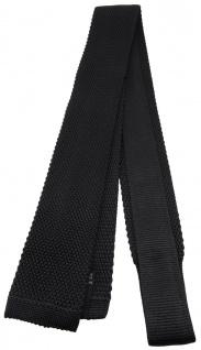 Blick. elementum - Strickkrawatte in schwarz einfarbig Uni - Krawatte 100% Seide