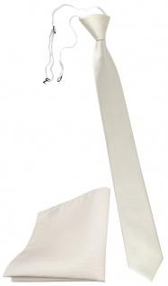TigerTie Sicherheits Krawatte + Einstecktuch weiß cremeweiß einfarbig Uni Rips