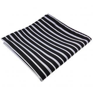 schönes Designer Einstecktuch in schwarz grau silber gestreift - Tuch Polyester
