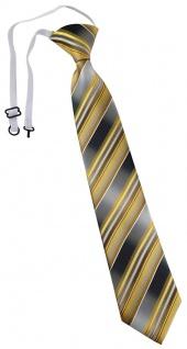 TigerTie Kinderkrawatte gold gelb silber anthrazit grau gestreift - mit Gummizug
