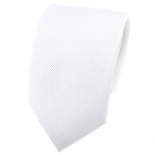Seidenkrawatte weiß Uni Rips - Krawatte 100% Seide - Breite 7cm x 150cm Länge