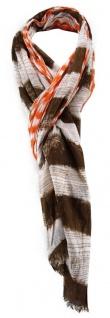 TigerTie Schal in braun orange weiß gestreift mit Fransen - Gr. 180 x 50 cm