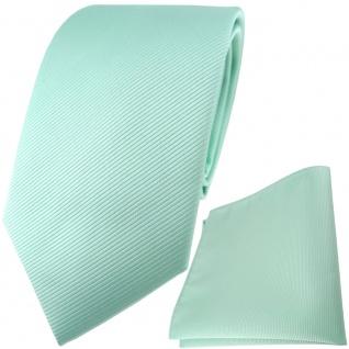 TigerTie Designer Krawatte + Einstecktuch in mint grün einfarbig uni Rips