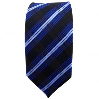 Schmale TigerTie Krawatte blau kobalt hellblau schwarz gestreift - Binder Tie - Vorschau 2