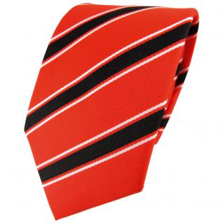 TigerTie Designer Krawatte orange leuchtorange schwarz weiß gestreift - Binder