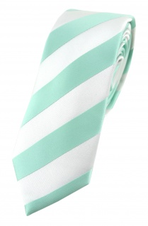 TigerTie - schmale Designer Krawatte in mint weiss gestreift