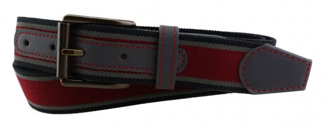 TigerTie - Stretchgürtel bordeaux grau schwarz gestreift - Bundweite 100 cm