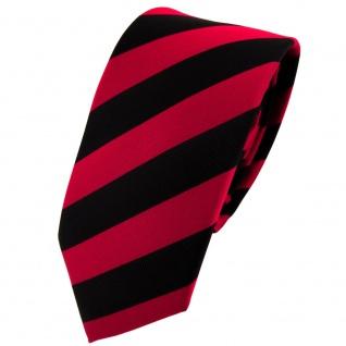 Schmale TigerTie Krawatte rot dunkelrot karminrot schwarz gestreift -Schlips Tie