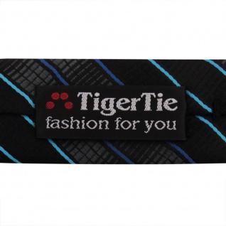 Schmale TigerTie Krawatte schwarz anthrazit türkis blau gestreift - Binder Tie - Vorschau 5