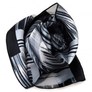 Feines Damen Satin Nickituch schwarz silber gemustert - Tuch Halstuch Schal