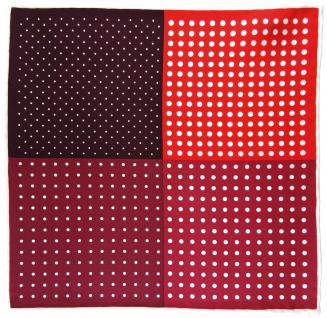 Multi Einstecktuch rot weinrot bordeaux verkehrsrot weiss gepunktet - 100% Seide - Vorschau