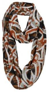 Damen Loop Schal in braun rotbraun grau schwarz gemustert - Gr. 170 x 110 cm