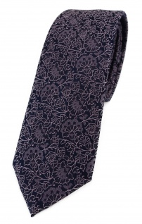 TigerTie - schmale Designer Krawatte in rosa flieder schwarz florales Muster