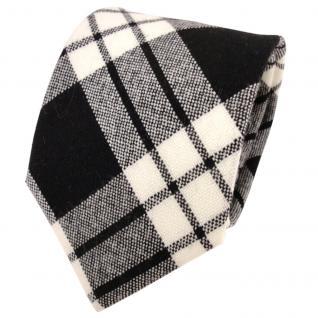 Designer Wollkrawatte schwarz anthrazit creme weiß kariert - Krawatte Wolle wool
