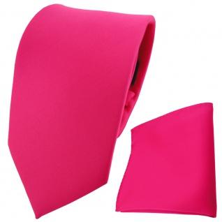 TigerTie Krawatte + Einstecktuch in pink knallpink neonfarben - 100% Polyester