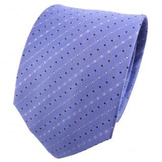 TigerTie Seidenkrawatte blau himmelblau silber schwarz gestreift -Krawatte Seide