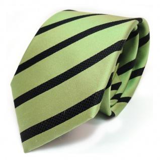 TigerTie Seidenkrawatte grün maigrün schwarz gestreift - Krawatte 100 % Seide