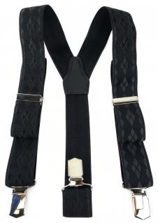 TigerTie Unisex Hosenträger mit 3 extra starken Clips - schwarz Uni gemustert