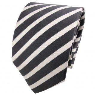 TigerTie Seidenkrawatte anthrazit silber gestreift - Krawatte Seide Binder