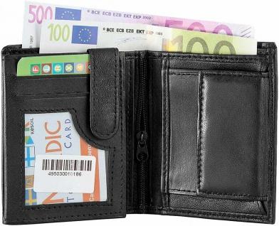 Echt Leder Herren Geldbörse schwarz - Geldbeutel Portemonnaie - mehrere Fächer