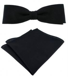 schmale TigerTie Fliege Pique in schwarz uni gemustert + Einstecktuch + Box