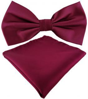 TigerTie Satin Fliege + Einstecktuch in violett Uni einfarbig + Geschenkbox