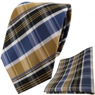 TigerTie Designer Krawatte + Einstecktuch gold blau silbergrau braun gestreift