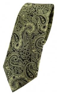 schmale TigerTie Seidenkrawatte in grün oliv schwarz Paisley gemustert
