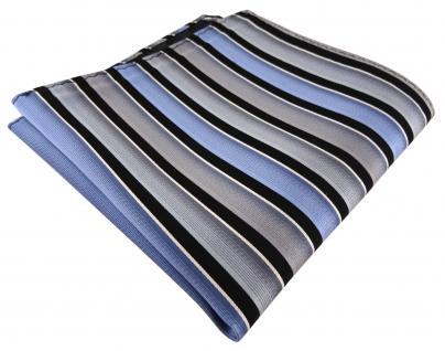 TigerTie Seideneinstecktuch grau blau schwarz silber gestreift - Gr. 30 x 30 cm