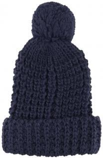 Strickmütze mit Bommel in dunkelblau Uni - Wintermütze - Mütze Größe M